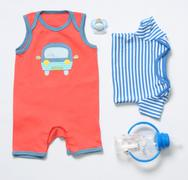 top view fashion trendy look of baby boy clothes and stuff - stock photo