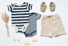 top view fashion trendy look of baby boy clothes - stock photo