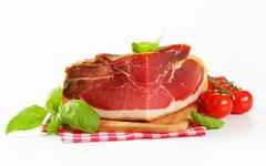 Prosciutto crudo - Italian dry-cured ham Stock Photos