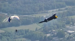 Coupe Icare, paragliding costumed competition, France Stock Footage