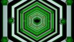 Tunnel Geometric Hexagons green Stock Footage