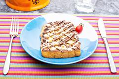 French toast with mayonnaise and chocolate cream for breakfast Stock Photos