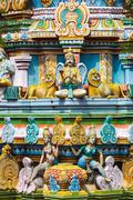 Sculptures on Hindu temple gopura (tower). Sri Ranganathaswamy  temple. Madur Stock Photos