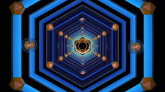 Tunnel Geometric Hexagons blue - stock footage