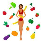 Slim black girl, fresh fruits and vegetables. Proper lifestyl - stock illustration