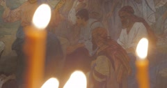 Sermon on The Mount Painted Fresco Church of St. Anthony and Theodosius Murals - stock footage