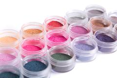 Close-up view of mineral eye shadows Stock Photos