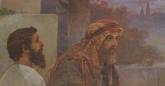 Jesus Christ at Emmaus Painting on The Wall Picture of Jesus and His Disciples - stock footage