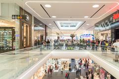 People Crowd Rush In Shopping Luxury Mall Stock Photos