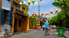 Ancient city street view with people. Hoi An. 4K resolution. Vietnam Stock Footage