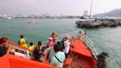 People And Tourist Travel By Boat To Pattaya Port Chonburi Thailand 2014 Stock Footage