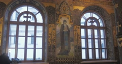 Paintings Frescoes on the Walls of the Temple The Church of St Anthony And - stock footage