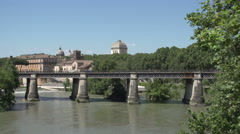 Ponte Palatino at the Fiume Tevere river Stock Footage