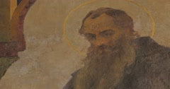 Stock Video Footage of Nestor The Chronicler with Halo Image Painting Church of St Anthony and