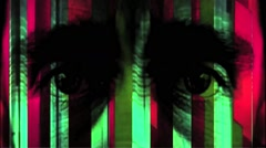 Vj Loops Art Man Eyes Face Visual Lines Background Stock Footage