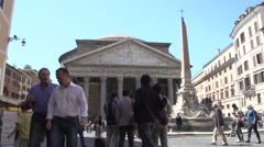 People watching at the Pantheon, time lapse Stock Footage
