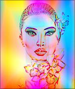 Beautiful Girl With Orchid Flowers. Abstract digital art. Stock Illustration