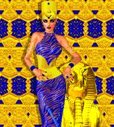Seductive Egyptian woman in gold and blue. Stock Illustration