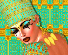 Egyptian queen adorned with gold and turquoise. - stock illustration