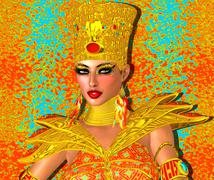 Egyptian queen adorned with gold jewelry and armor. - stock illustration