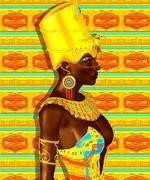 Black Egyptian princess in our modern digital art style - stock illustration