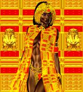 Black Egyptian princess in our modern digital art style, close up - stock illustration