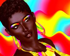 Beautiful Black Woman with colorful make up - stock illustration