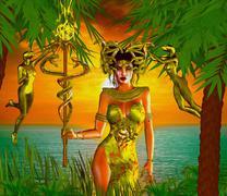 Snake Goddess. A magical, fantasy snake goddess. - stock illustration