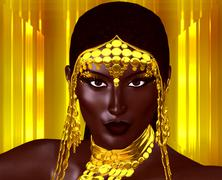 Young African Woman in Gold Headdress - stock illustration