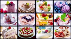 Food collage. Cakes and ice cream. Stock Footage