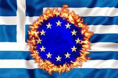 Greek economy disaster - stock illustration