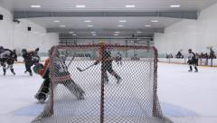 Ice Hockey Match - Teen Boys - 01 - Playing Goalie Stock Footage