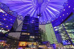 Stock Photo of Illuminated dome of Sony Center