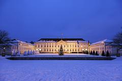 Bellevue Palace at winter night Stock Photos