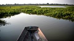 Canoe in Bolivian Amazon Stock Footage