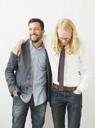 Two smiling friends Stock Photos