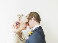 Portrait of newlywed couple Stock Photos