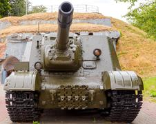 Self-propelled ISU - 152 in the Brest Fortress. Stock Photos
