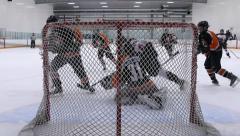 Ice Hockey Match - Teen Boys - 03 - Smart Goalie Stock Footage