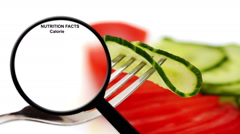 Nutrition facts on cucumber Stock Footage
