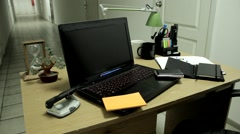 Office workplace with stationery on the table Stock Footage