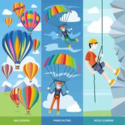 Parachuting, Ballooning and Rock Climbing - stock illustration