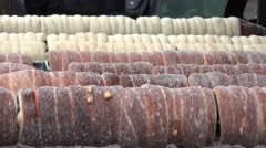 Czech cake - Trdelnik - prepare on the grill Stock Footage