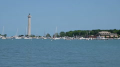View of Perry's Monument and the Put-in-Bay Marina Stock Footage