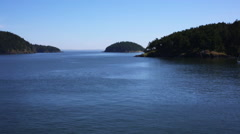 SCENIC VIEW OF NORTHWEST COASTAL ISLANDS AND OCEAN FROM FERRY Stock Footage