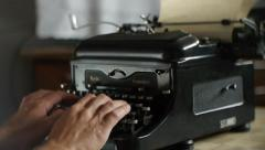 Hand printing on old typewriter - Vintage typewriter for writers and editors Stock Footage