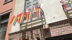 Stonewall Inn Gay Bar , New York City , Historic Marriage Equality Ruling. Stock Footage