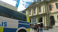 Nobel museum with police van in Stockholm Stock Footage