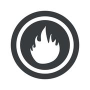 Round black fire sign Stock Illustration