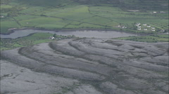AERIAL Ireland-Burren Plateau On North Clare Coast Stock Footage